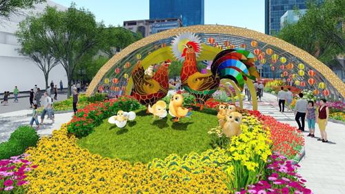 """Đàn gà """"khủng"""" sắp xuất hiện trên đường hoa Nguyễn Huệ - 1"""
