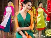 Thời trang - Thanh Hằng diện áo dài ngọt ngào sắc thắm bên vườn xuân