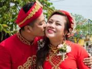 DV Hoàng Anh liên tục hôn vợ Việt kiều trong lễ cưới ở quê nhà