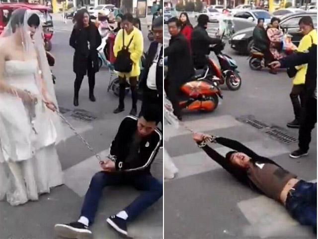 Chú rể bị cô dâu buộc xích lôi xềnh xệch trên phố