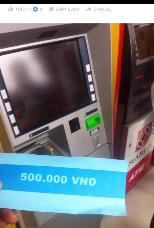 Chuyện lạ ở HN: Ra cây rút tiền, ATM nhả tờ giấy in chữ 500 nghìn đồng - 1