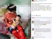 Bạn trẻ - Cuộc sống - Cô dâu trong ngày cưới kéo váy cho con bú gây xôn xao trên mạng
