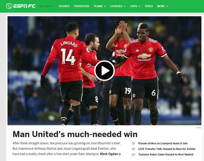 """MU hạ Everton: Báo chí Anh mừng như """"bắt được vàng"""", khen Mourinho hết lời 2"""