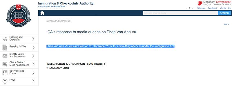 """Singapore xác nhận đang tạm giữ ông """"Phan Van Anh Vu"""" - 2"""