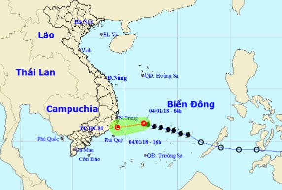 Bão số 1 suy yếu, đổi hướng vào vùng biểnNinh Thuận-Bến Tre