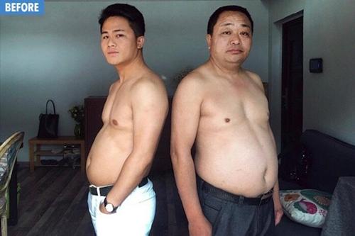 """Trung Quốc: Phát sốt vì đại gia đình bụng mỡ bỗng hóa toàn """"6 múi"""""""