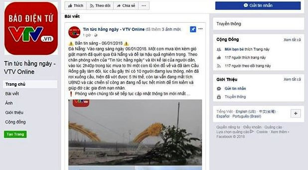 Xuất hiện trang giả mạo VTV đăng tin cầu Rồng Đà Nẵng gẫy đôi