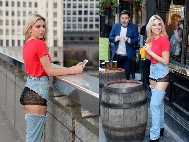 Cô mẫu liều mình mặc jean khoét cực hiểm ra phố và kết quả bất ngờ