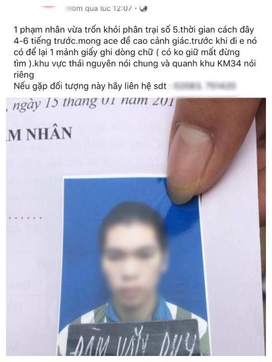 Sự thật vụ phạm nhân trốn trại để lại tờ giấy