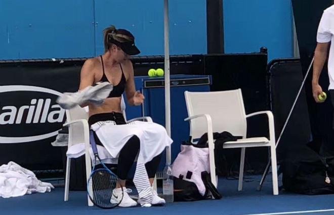 """Australian Open: Sharapova """"gây bão"""" cởi áo giữa thanh thiên bạch nhật 2"""