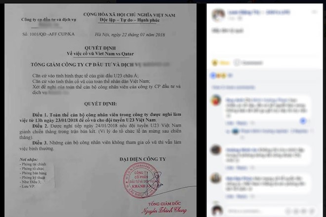 Facebook: Xôn xao lá đơn xin nghỉ học để xem trận U23 Việt Nam - U23 Qatar - 2