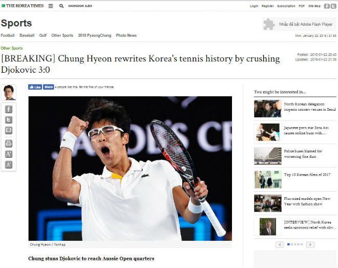 """Cú sốc Australian Open: Hyeon Chung hạ Djokovic, báo Hàn """"nổ"""" giòn giã 6"""