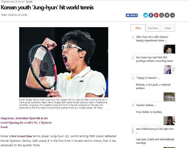 """Cú sốc Australian Open: Hyeon Chung hạ Djokovic, báo Hàn """"nổ"""" giòn giã 2"""