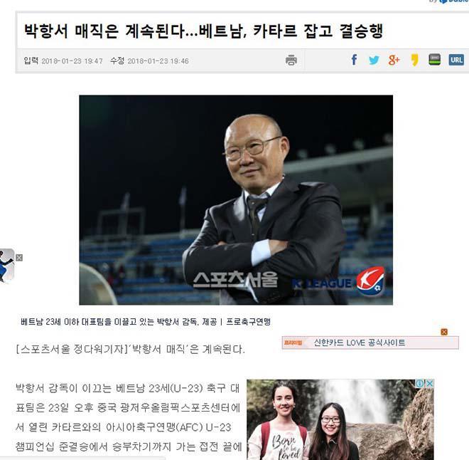 """U23 Việt Nam chấn động châu Á: Báo Hàn tự hào """"thầy phù thủy"""" Park Hang Seo - 2"""