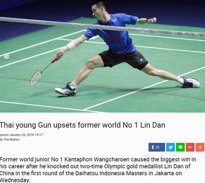 """Chấn động như U23 VN: SAO 19 tuổi Thái Lan, quật ngã """"khổng lồ"""" Lin Dan 2"""