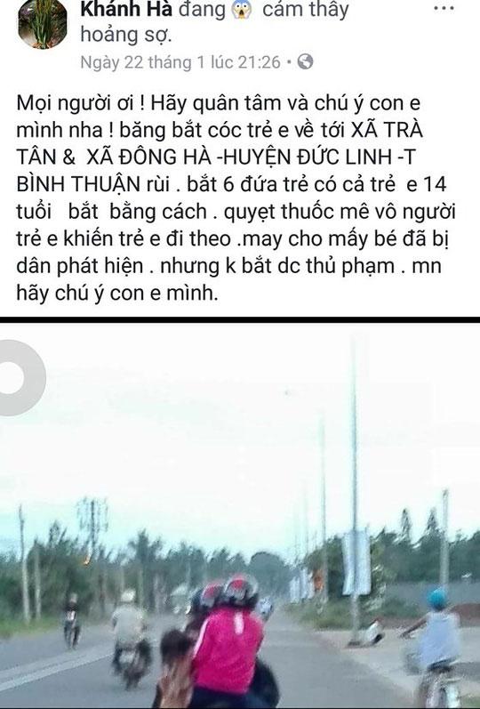 Dân Bình Thuận hoang mang vì thông tin 6 trẻ bị bắt cóc