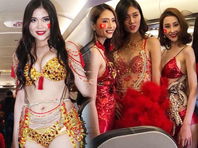 Giới người mẫu tiếp tục um xùm vì việc mặc phản cảm trên máy bay đón U23 VN