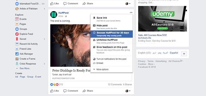 Thủ thuật Facebook: Cách tạm ẩn trang hoặc ai đó trên News Feed