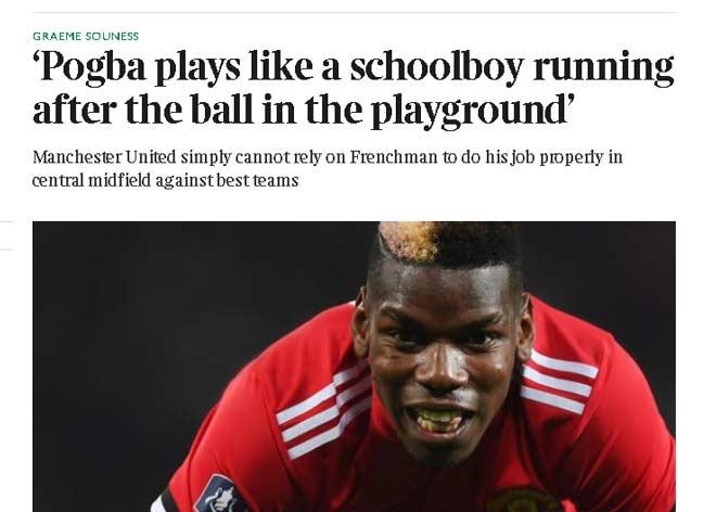 """Pogba bị chê """"đá như trẻ con"""", MU khó dựa trước đội mạnh 2"""