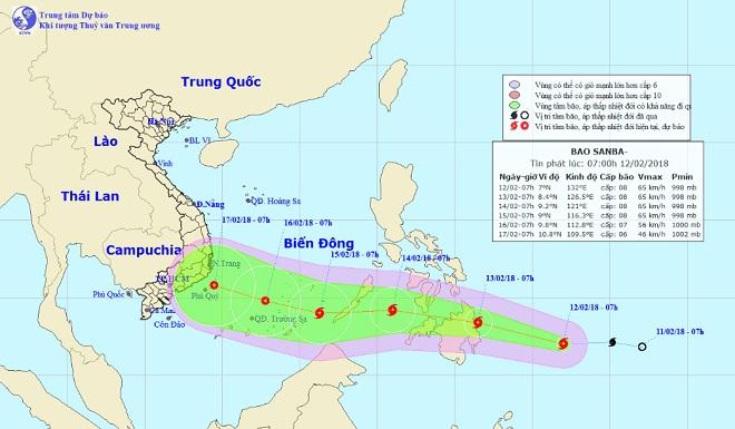 Bão Sanba giật cấp 10, tăng tốc hướng vào Biển Đông