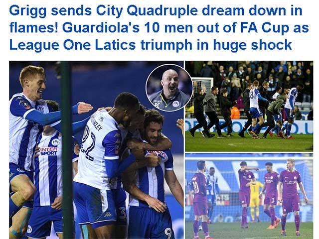 """Man City thua sốc ở FA Cup: Pep chối không """"cà khịa"""" HLV Wigan 4"""