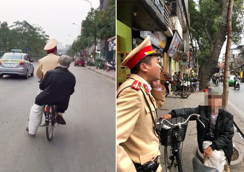"""CSGT đạp xe chở cụ già đi tìm nhà: """"Đó là việc nhỏ, ai gặp cũng sẽ làm"""""""