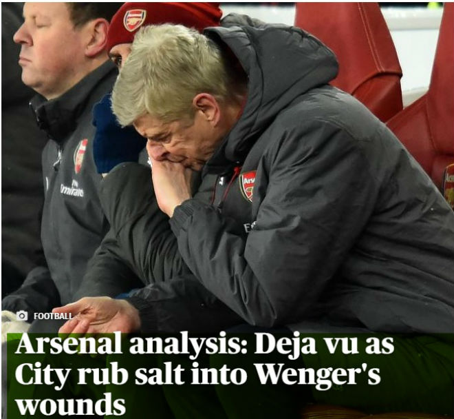 """Arsenal lại bị Man City """"hành hạ"""": Báo chí Anh hò nhau tiễn biệt Wenger"""