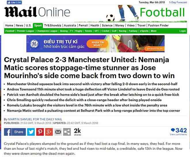 """MU ngược dòng: Báo Anh khen Mourinho """"thiên tài"""", ngả mũ Matic kỳ diệu 1"""