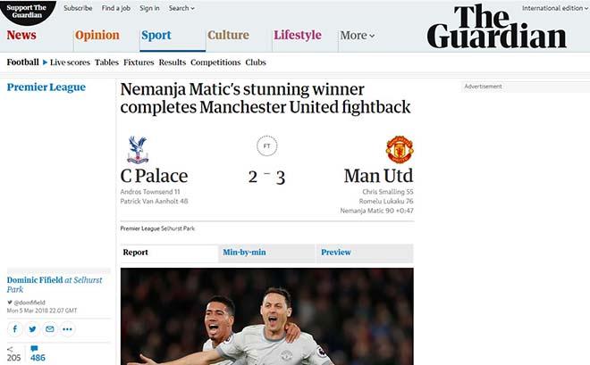 """MU ngược dòng: Báo Anh khen Mourinho """"thiên tài"""", ngả mũ Matic kỳ diệu 3"""
