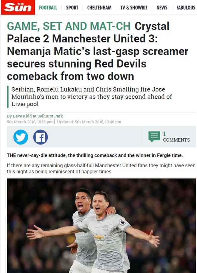 """MU ngược dòng: Báo Anh khen Mourinho """"thiên tài"""", ngả mũ Matic kỳ diệu 6"""