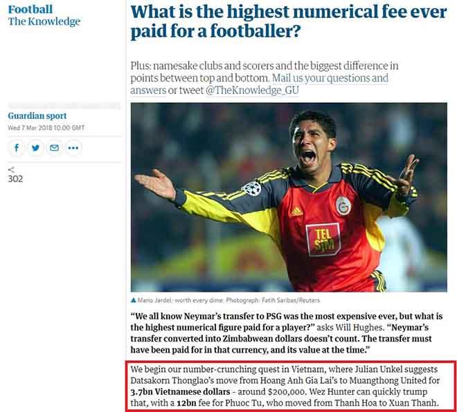 """Thống kê lạ từ báo Anh: SAO Việt Nam """"đắt"""" gấp 54 lần Neymar 3"""