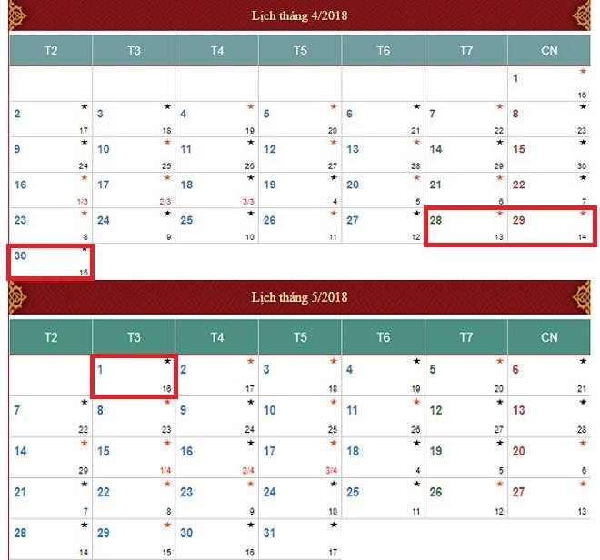 Lịch nghỉ chính thức ngày lễ 30/4 và 1/5 năm 2018