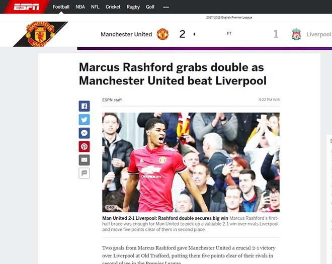 """MU hạ Liverpool: Báo Anh ca ngợi Mourinho """"bạc già"""", khen Rashford hết lời 3"""