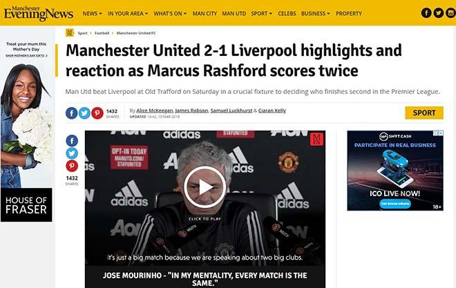 """MU hạ Liverpool: Báo Anh ca ngợi Mourinho """"bạc già"""", khen Rashford hết lời 6"""