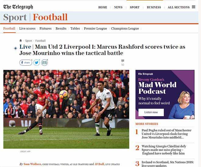 """MU hạ Liverpool: Báo Anh ca ngợi Mourinho """"bạc già"""", khen Rashford hết lời 7"""