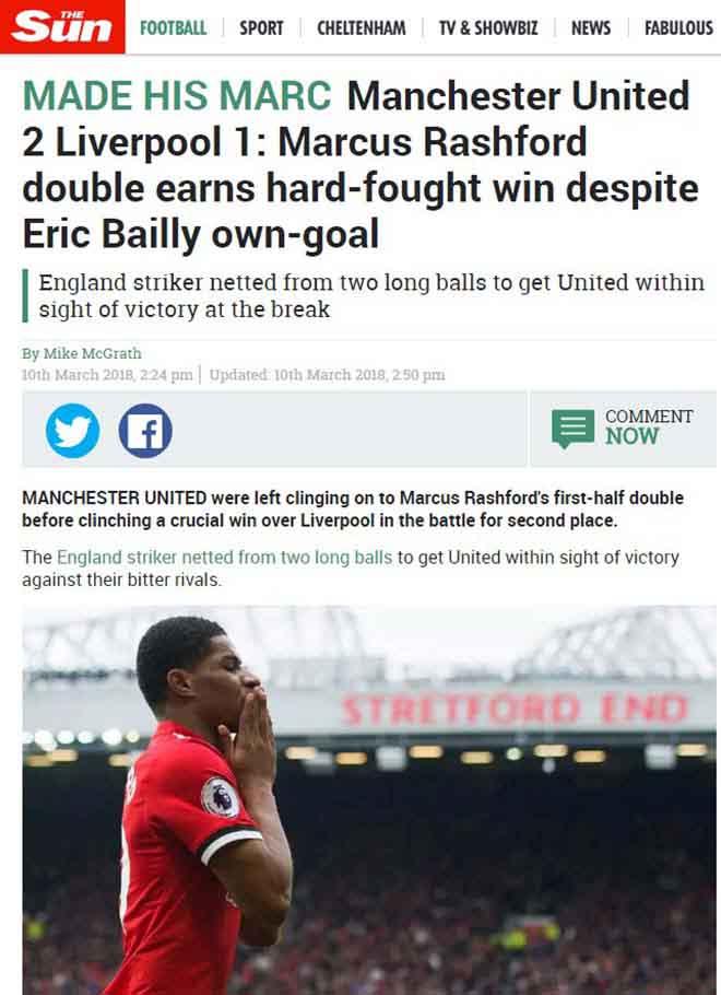 """MU hạ Liverpool: Báo Anh ca ngợi Mourinho """"bạc già"""", khen Rashford hết lời 1"""