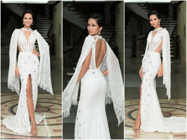 Hoa hậu H'Hen Niê gây tranh cãi vì bộ váy xẻ tứ bề - 1