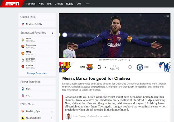 """Barca hạ đẹp Chelsea: Báo Anh """"quy phục"""" Messi, truyền thông thế giới tán thưởng 1"""