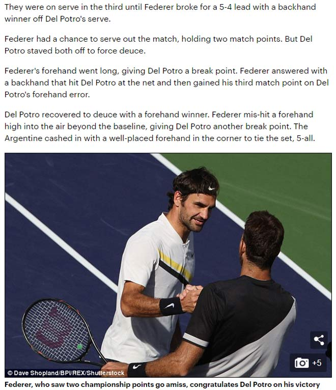 """Federer thua tiếc nuối: Báo chí gọi tên """"khắc tinh"""" Del Potro 1"""