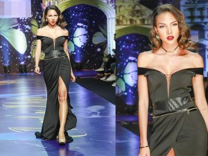 """Thời trang - Minh Triệu """"đốt mắt"""" với váy khoét sâu, xẻ cao"""