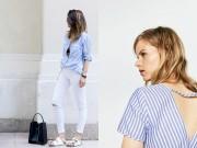 Thời trang - Làm quen với họa tiết kẻ sọc trắng xanh hot nhất hè