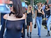 Thời trang - Kendall Jenner mặc áo mỏng tang tung tăng giữa phố