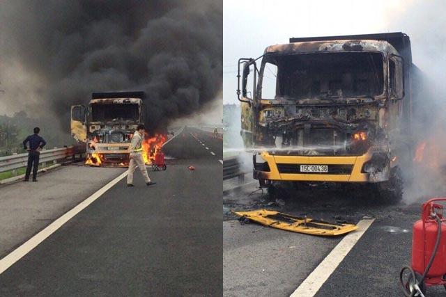 Clip: Xe tải cháy như đuốc trên cao tốc hiện đại nhất Việt Nam - 2