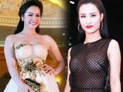 """Đông Nhi, Nhật Kim Anh bị váy  """" phản chủ """"  dưới đèn flash"""