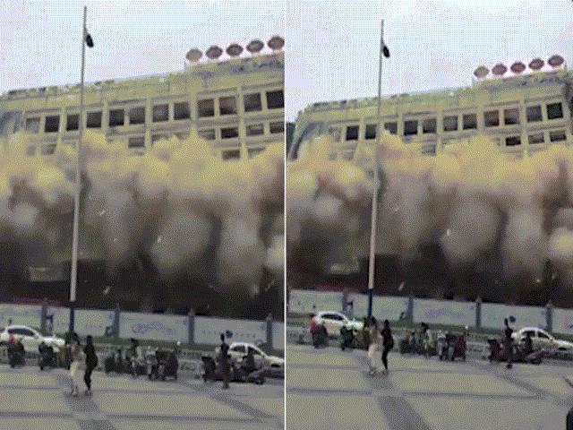 TQ: Tòa nhà 12 tầng bất ngờ sập khiến dân chạy tán loạn