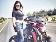 Ngắm nữ biker Thu  Gạch '  nóng bỏng bên Suzuki GSX-S1000