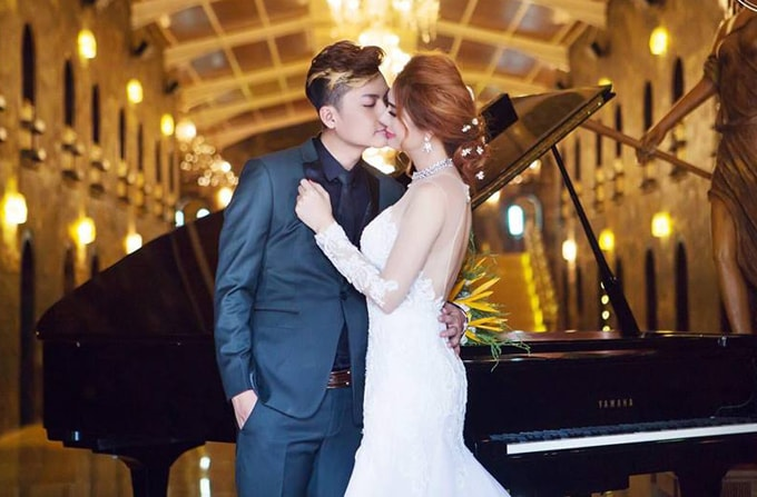 Lâm Khánh Chi mặc áo cưới xuyên thấu nuột nà bên chồng trẻ - 4