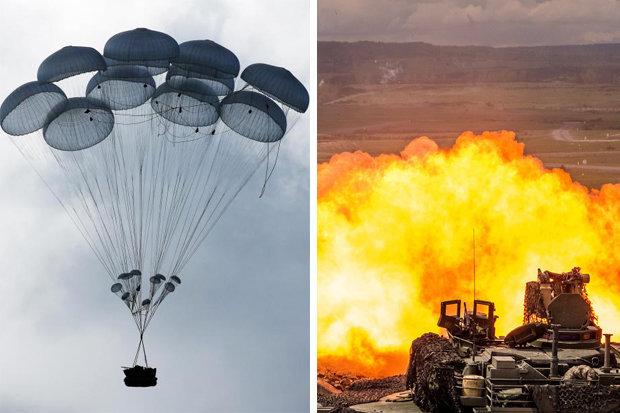 Nga thả xe tăng từ trên trời xuống đất luyện bắn nhau - 1