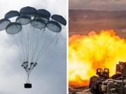 Nga thả xe tăng từ trên trời xuống đất luyện bắn nhau