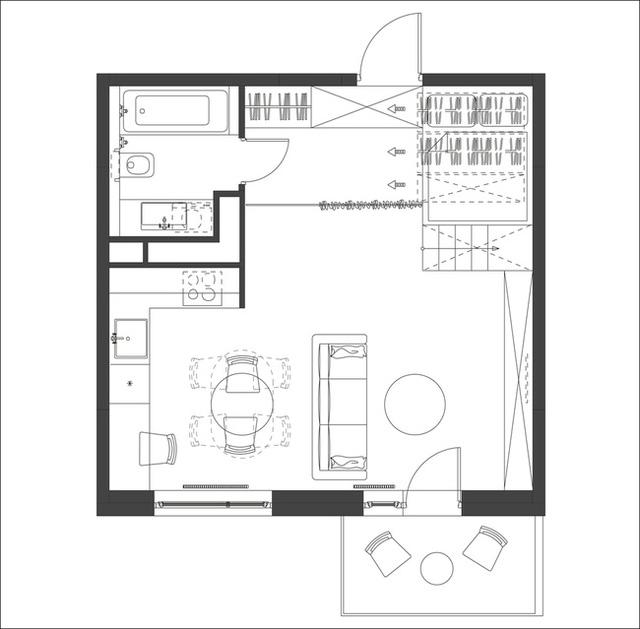 """""""Hộp ngủ"""" sáng tạo cho căn hộ 35m2 rộng khó tin - 16"""